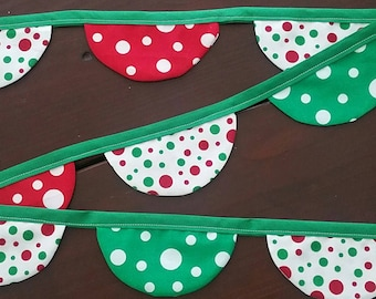 Polka Dot Fabric Banner   Christmas Decoration   Bunting   Photo Shoot Prop   Red   Green   White