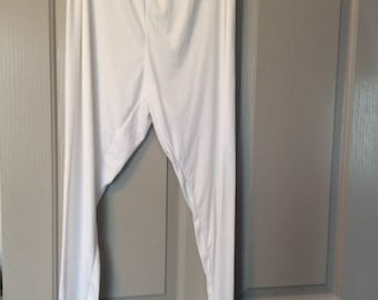 Cuddl duds longjohns 1X soft and silky sleek leggings/lounge wear polyester white new without tags