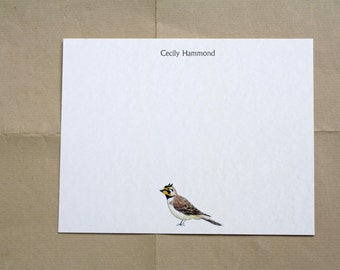 Meadowlark Lark Bird Custom Notecard Stationery. Thank You, Any Occasion, Personalize Watercolor Print, Set of 10.
