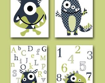 Monster Nursery Alphabet Nursery Numbers Baby Art Kids Art Baby Boy Nursery Wall Art Baby Boy Room Decor Kids Room Decor set of 4 Blue