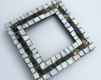 Mosaic Picture Frame-Mosaic Frame with Mirror-mosaic art-small frame-standing picture frame-mosaic mirror-hanging frame-table top frame