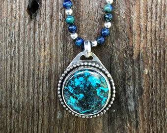 Azurite and Sterling Silver Necklace With Pendant