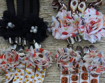 THIGH HIGH sock GARTERS  crocodile clips  onto shorts or knickers  pretty shabby flower  halloween Día de Muertos day of the dead suspenders