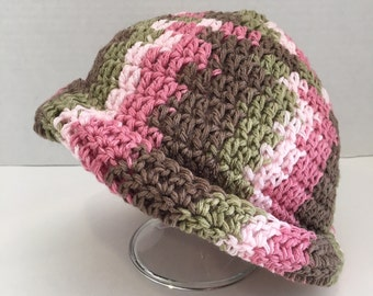 Brown/Pink/Green varigated Slouch Hat