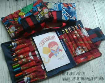 Avengers Art Kit - Colouring Tote - Gifts for Kids - Travel Activity - SuperHero- Travel Colouring - WonderWoman - Personalized Gift for Kid