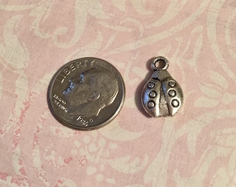6 Ladybug Charms Antique Silver Double Sided