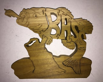 Bass Fish Wood Puzzle - 5 x 7 approx.