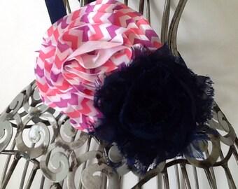 Navy blue headband, purple and pink headband, navy headband, girls headband, baby headband, headbands for girls, blue flower hair accessory