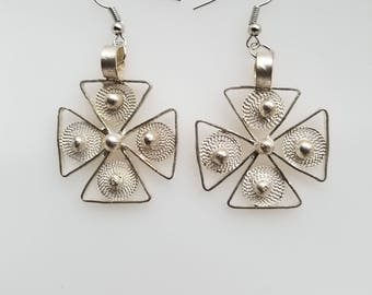 Coptic Cross earrings, Ethiopian earrings, silver earrings, handmade earrings, African earrings, traditional earrings