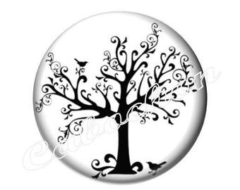 2 cabochons 25 mm glass cabochon tree silhouette, black and white tone