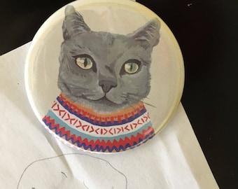 Russian Blue Cat fridge magnet - illustrated cat refrigerator magnet- Russian Blue print gift
