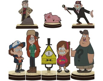 Gravity falls Characters Wooden figurines Figures on a Stand