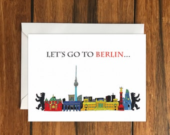 Let's go to Berlin One Original Blank Greeting Card A6 and Envelope