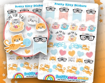 32 Cute Pretty Kitty/Cat Planner Stickers, Filofax, Erin Condren, Happy Planner,  Kawaii, Cute Sticker, UK