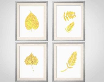 Yellow Wall Art, Yellow Botanical Prints, Leaves, Yellow Wall Art, Yellow  Home