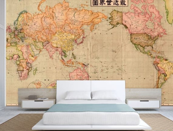 World Map Wall Mural Old Wallpaper Vintage