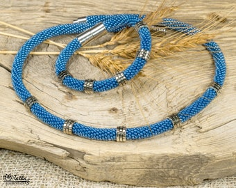 Blue thin necklace bracelet beaded set Boho jewelry casual Slider necklace Bead crochet rope necklace Friendship gift for girlfriend