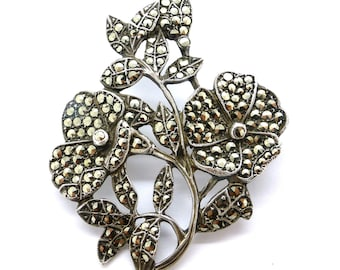 Vintage Art Deco sterling silver marcasite brooch c1930s flower floral bouquet pin Birthday Anniversary Christmas gift for her