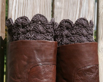Crochet Boot Cuffs in Charcoal Grey Gray Boot Toppers Boot Socks