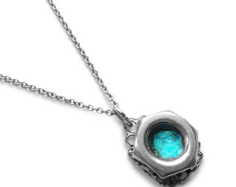 Teal Pendant, Resin Necklace, Stainless Steel Jewelry for Women, Hex Nut Pendant, Silver Filigree Wrap, Girlfriend Gift