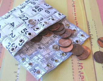 Tape Measure Coin Pouch in White