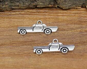 40pcs Antique Silver Car Charms Pendant 28x12mm C2070-Y