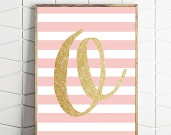 pink decorations, pink wall decor, pink printables, pink wall art, letter O pink art, O instant download, O print art, O letter