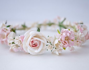 Paper Flower, Crown, Headband, Wedding, pink, soft pink, cream and white Color. ADUlT SIZE.