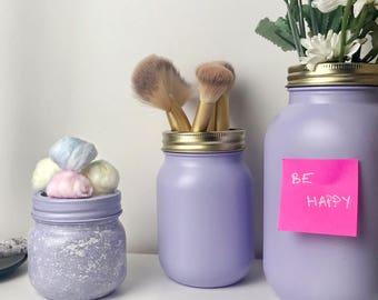 Lilac Mason Jar - Flower Vase - Makeup Brush Holder - Makeup Storage - Dorm Decor - Nursery Decor - White - Blue - Mason Jar - Gold - Silver