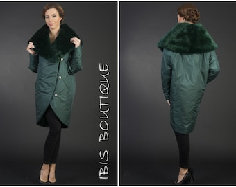 Oversize 20s maxi woman winter jacket, green elegant retro winter coat, plus / large sizes, warm water resistant jacket, faux fur collar