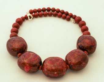 Red Jasper and Lampwork Glass Bead Necklace