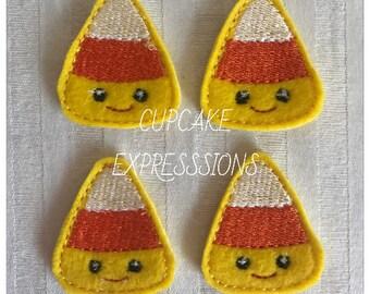 "1.75"" Happy Candy Corn Feltie, Applique, Embellishment - Always Precut - Hair Clip Embellishment Halloween Yellow Orange White Kawaii"