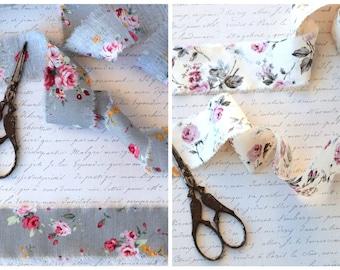 Set of 2pc Hand Dyed Cotton  Ribbon, Shabby Style Gift Wrap Ribbon, Vintage Roses Ribbon, Trimming, Frayed Edge