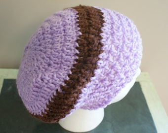 Lightweight Cap, Purple Crochet Hat, Purple Stripe Cap, Dread Hat, Womens Beanie, Crochet Slouch Hat, Slouchy Beanie, Hipster Hat, Toque