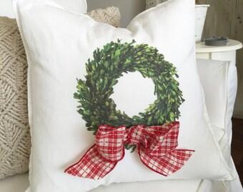 Boxwood Wreath Pillow | Farmhouse Christmas Decor | Pillow Cover | Farmhouse Decor | Cottage Decor | Christmas Pillow | Xmas Farmhouse