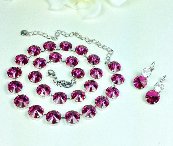 Swarovski Crystal 12MM Radiant Fuchsia Necklace - Designer Inspired  - Stunning  & Classy - FREE SHIPPING