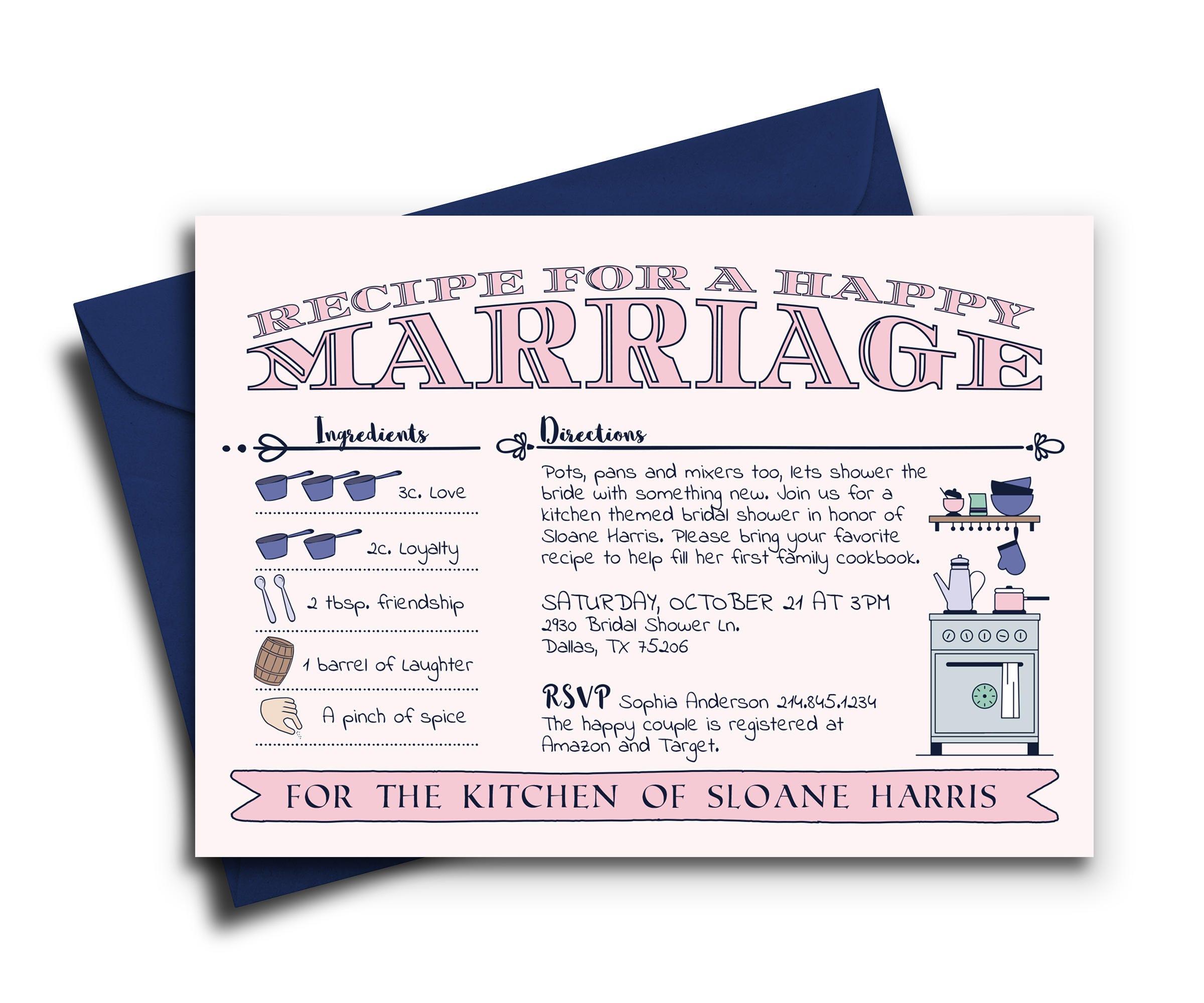 Kitchen Bridal Shower Invitation Kitchen Themed Invite