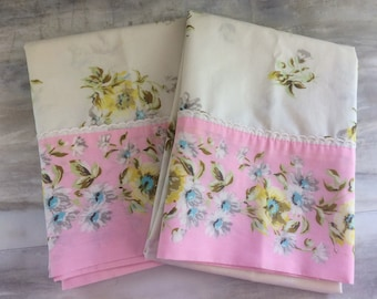 Vintage Pair of Floral Pillowcases Pink Shabby Chic Mismatched Country Cottage Linens Bedroom Bedding Cotton