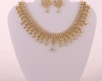 CZ Necklace with white stones