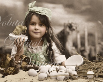 Adorable girl with chick and ducklings. Digital download  -  Edwardian Vintage Postcard.