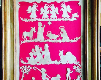 "PAPERCUT Nativity Story, ORIGINAL ART Handmade Paper Cutting, Scherenschnitte, fits 8 x 10"" frame"