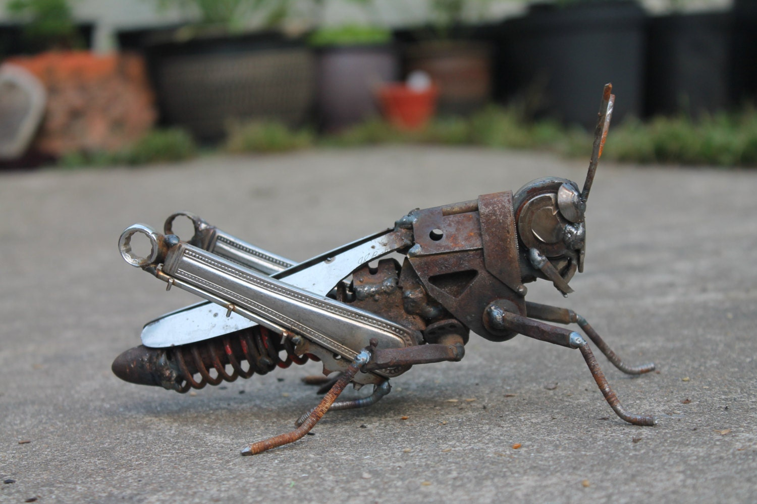 scrap metal sculpture of a field grasshopperreclaimed. Black Bedroom Furniture Sets. Home Design Ideas