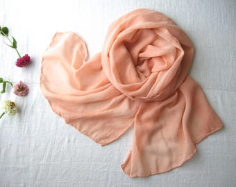 Peach pink silk wrap, organic plant dyed scarf, pastel pink scarf silk bridal wrap, pale coral pink stole, dusty pink soft matte silk scarf