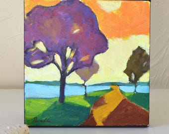 """Modern abstract  landscape,  small oil painting on canvas    Under 100   Purple orange   Fall   Square   8"""" X 8"""" signed, Ready to hang"""