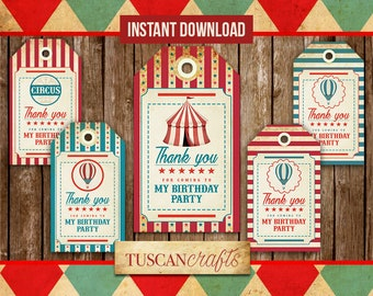 Vintage circus tags | Thank you tags | Circus Party | Carnival Party | Vintage Circus | Instant Download | Printable