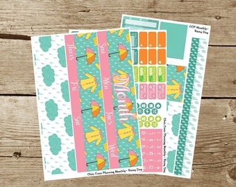 Choose your Month(ly) kit-- Rainy Day (for use in Erin Condren Life Planner)