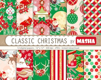 "Christmas digital papers:""CLASSIC CHRISTMAS"" with Christmas pattern, Santa Claus pattern, red and green pattern, 12 images 300 dpi JPG files"
