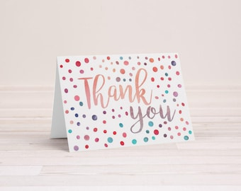 Watercolor Polka Dot Thank You Notes - Set of 6 Cards with Envelopes - Thank You Cards - Blank Inside - Folding Note Cards - Mentor Gift
