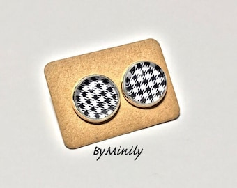 Chips cabochon - gingham - black and white houndstooth - foot - studs