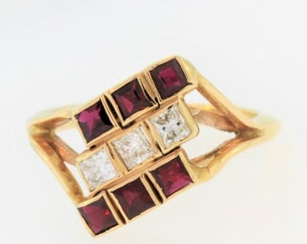 Stacked Diamond And Ruby Ring-14k Yellow Gold
